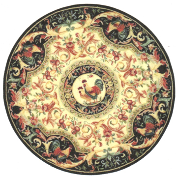 "1:12, 1"" Scale Dollhouse Miniature Area Rug 7"" Round Roosters"